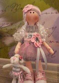 Коллекционные куклы ручной работы. Ярмарка Мастеров - ручная работа. Купить текстильная куколка Аника. Handmade. Бледно-розовый, трессы