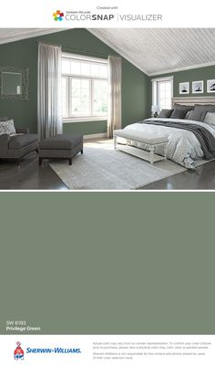 I found this color with ColorSnap® Visualizer for iPhone by Sherwin-Williams: Privilege Green (SW 6193).