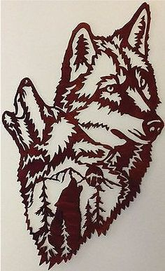 Wolves Howling Scene Wolf Silhouette, Silhouette Design, Kirigami, Metal Welding, Wolf Howling, Scroll Saw Patterns, Gourd Art, Forest Animals, Metal Wall Art