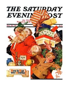 """Night before Christmas"" By J.C. Leyendecker. Issue: December 26, 1936. ©SEPS. Giclee print available at Art.com."