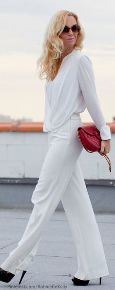 I love this! I have some white Chanel pants and I never know how/when to wear them.