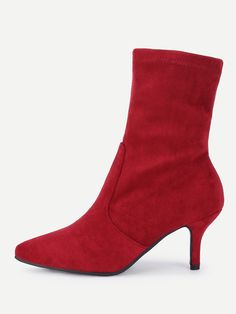 c923989e95 Pointed Toe Court Heeled Ankle Boots -SheIn(Sheinside) Sock Ankle Boots,  Bootie