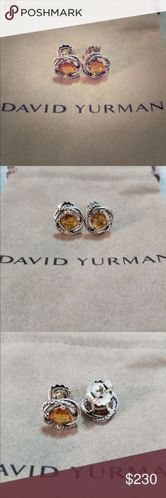 David Yurman Silver Infinity Earrings with Citrine Guaranteed authentic David Yurman like new condition, stamped DY 925 comes with a pouch thank you for watching David Yurman Jewelry Earrings