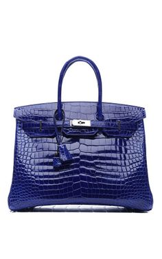 Vintage Hermes 35Cm Shiny Electric Blue Porosus Crocodile Birkin