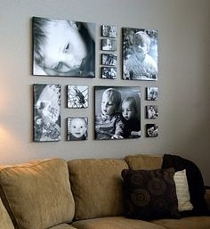 black/white photos above couch... beautiful - I like the sizes and arrangements - but I want mine in color