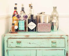 distressed dresser bar