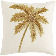 Pier 1 Imports Ivory Tropical Beaded Palm Tree Pillow ($32) ❤ liked on Polyvore featuring home, home decor, throw pillows, ivory, tropical palms, cream colored throw pillows, cream throw pillows, beige throw pillows and tropical home decor