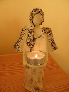 Clay Ceramic Angel Candle Holder Sculpture http://www.fler.cz/zbozi/andel-svicen-3030523?pos=141