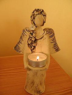 Clay Ceramic Angel Candle Holder Sculpture http://www.fler.cz/zbozi/andel-svicen-3030523?pos=141