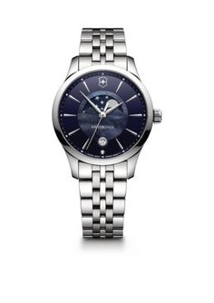 Victorinox Swiss Army, Inc Women's Women's Silver-Tone Moon Phase Alliance Watch - Blue - One Size