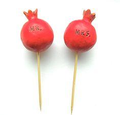 Red Pomegranate wedding cake topper by indigotwinweddings on Etsy, $50.00