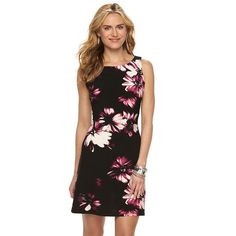 7e252095c4f Women s CHAPS Boat Neck Floral Sheath Dress Sleeveless Stretch Black Plum  Size L. Kohls DressesPetite ...
