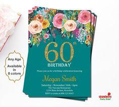 60th Birthday Invitations Surprise For Women Floral Invitation Gold Glitter A15