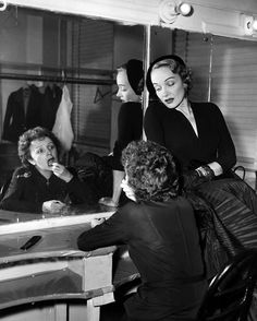 Marlene Dietrich and Edith Piaf in Piaf's dressing room at the Versailles Nightclub. 1952.