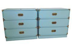 "Aqua Campaign Chests, Pair on OneKingsLane.com 2/3/14 $2,445/pair, vintage, fresh high-gloss lacquer in robin's egg blue, original brass hardware, 30""l x 18""w x 29""h"