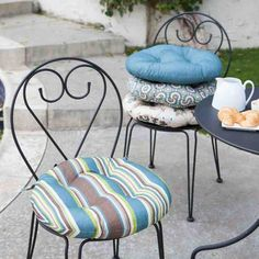 Those bistro chairs are as cute as they are uncomfortable. Soften them up in style with the Ulani Outdoor Round Seat Cushion - 16 in. This round cushion. Round Outdoor Cushions, Round Seat Cushions, Cushions For Sale, Outdoor Fabric, Bar Stool Cushions, Garden Cushions, Lounge Cushions, Bistro Chairs, Patio Chairs