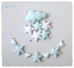 **Sternen-Girlande mit Namen**  Es ist eine wunderschöne Geschenkidee zur Geburt oder Taufe; als Türschild oder über dem Bettchen als Wanddekoration...  aus Leinen genähte und...