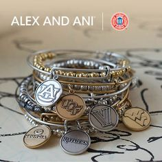 College Themed Alex and Ani! #AlexandAni #shopsmall Visit Blooming Boutique in Lewes DE, or call the store, we ship anywhere! 302-644-4052