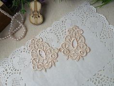 4 PCS/SET Champagne Lace Applique, Can make lace earrings / Lace by LaceDecoration on Etsy, $1.99