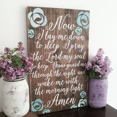 Now I lay me down to sleep, Shabby Chic children's room decor, Bedtime prayer by CASignDesign on Etsy https://www.etsy.com/listing/233100547/now-i-lay-me-down-to-sleep-shabby-chic