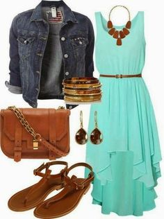 Love this dressy-casual look. Not sure about the hemline on the dress. And again, I couldn't wear the bangles.