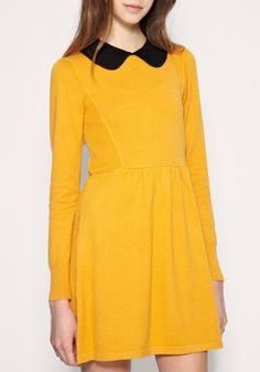 Yellow Lapel Knee Length High Waist Cotton Dress