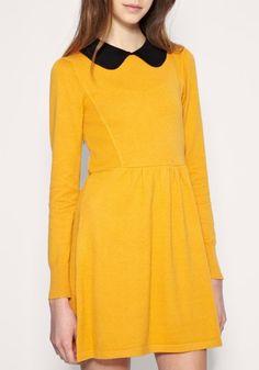 Yellow Lapel Knee Length High Waist Cotton Dress