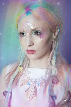 Pastel rainbow  hair plus glitter pixie makeup, love.
