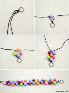Picture this with pearls or crystals in place of the plastic rainbow bright beads.