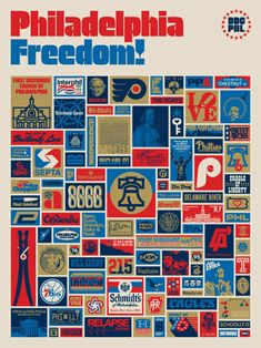 """A very much wanted """"Philadelphia Freedom!"""" poster. Design by Aaron James Draplin."""