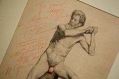 Stalin's comments on top of artists original nudes