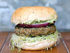 Spicy Sweet Potato Black Bean Burgers with avocado-cilantro crema + sprouts. Gluten Free. Vegan
