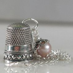 Sterling Silver Antique Thimble Necklace Sterling by HooliganAlley
