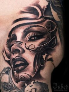 awesome tattoo of woman's face - Google Search