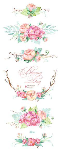 Cet ensemble de main de haute qualité peint des Bouquets de fleurs aquarelles avec Hortensia et pivoines + fond bois sombre dans les embauches.