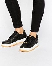 Nike Black Leather Air Force 1 07 Prm Trainers