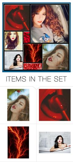 """Hyuna Red Aesthetic"" by kpopkrypto ❤ liked on Polyvore featuring art, kpop and hyuna"