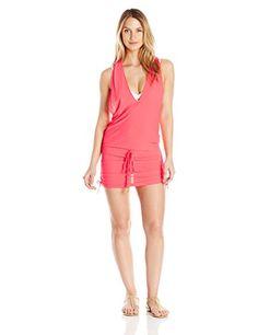 Luli Fama Womens Cosita Buena Racerback Mini CoverUp Dress Hot Mess Medium ** Click image for more details.