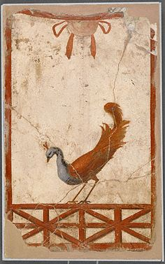 This Roman wall fragment with a peacock from 70 AD shows a beautiful bird. Several drawers wanted to bring birds with them in the afterlife.