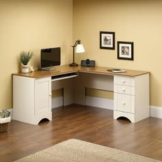 I like this desk and matching file cabinet for $500 total for office http://www.walmart.com/collection/Sauder-Harbor-View-Office-Collection/47206444