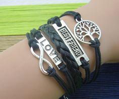 tree love best friend infinity bracelet,handmade bracelet wax cord bracelet trending friendship bridesmaid anniverssary gifts