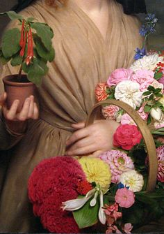 Charles Cromwell Ingham, The flower girl , detail, 1896
