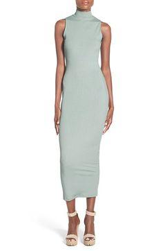 Missguided Rib Knit Mock Neck Midi Dress