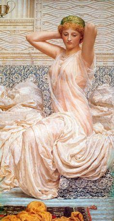 """PINTURA ::: """"Silver"""", 1886 - Albert Joseph Moore - SIMBOLISMO - Óleo sobre Tela"""
