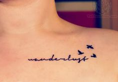 I like the placement, the font, and the birds. (For Avett lyrics tattoo)