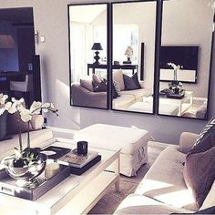 Maybe Double couches, face to face? Instead of mirrors, TV across from fireplace!