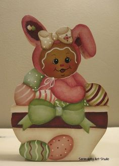 HP GINGERBREAD SHELF SITTER BUNNY BOWL EASTER EGGS in Crafts | eBay