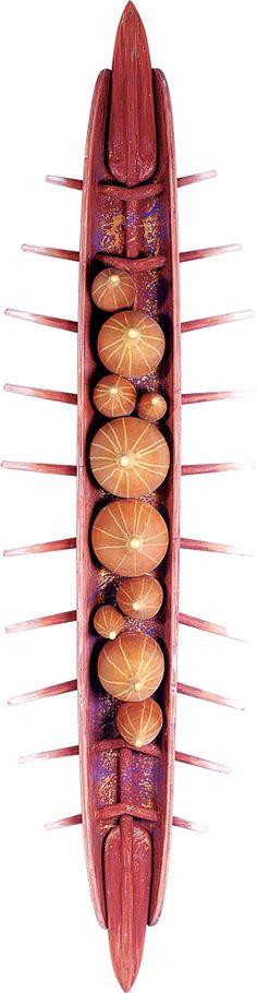 Paulo Laender  - A BARCA DAS DEZ CABAÇAS - relevo em madeira pintada - data 2002 - dim 45 x 60 x 240 cms