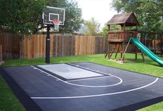 x Basketball Court - DunkStar DIY Backyard Courts diy patio staining stencil ideas Backyard Sports, Backyard Trampoline, Backyard Playground, Backyard For Kids, Backyard Games, Backyard Projects, In Ground Trampoline, Playground Kids, Trampoline Ideas