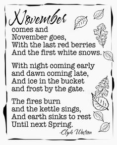 Create with TLC: Welcome November.........Free Printable........